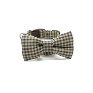 Small Dog Bow and Collar in Checkered Brown